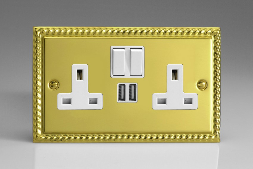 XG5U2SW Varilight 2 Gang 13A Single Pole Switched Socket + 2 x 5V DC 2100mA USB Charging Ports, White Insert & Switches. Classic Georgian Polished Brass Effect