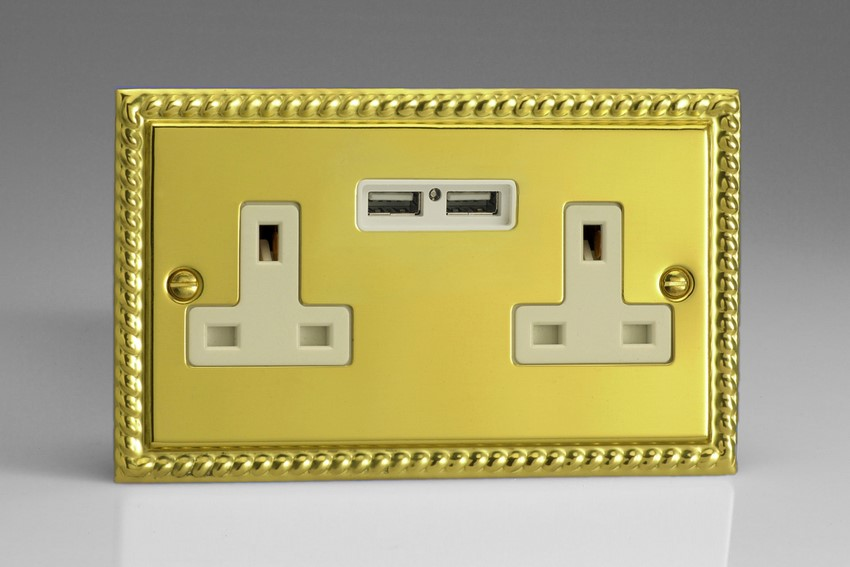 XG5U2W Varilight 2 Gang, 13 Amp Unswitched Socket with 2 Optimised USB Charging Ports, White Insert. Classic Georgian Polished Brass Effect