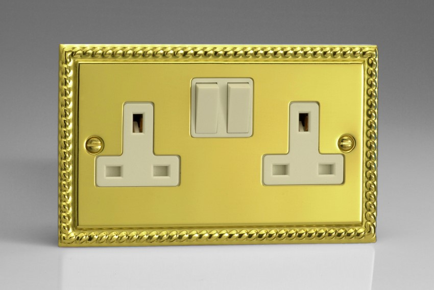 XG5W Varilight 2 Gang, 13 Amp Switched Socket, Classic Georgian Polished Brass Effect