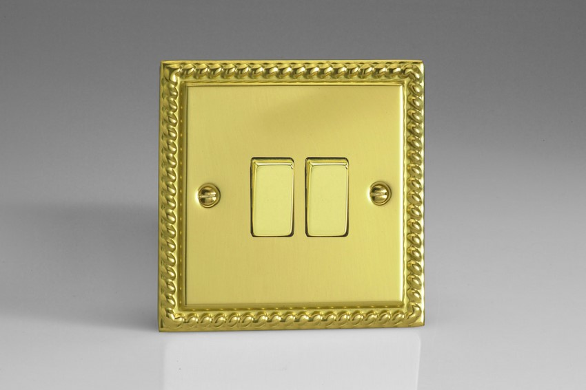 XG77D Varilight 2 Gang (Double), (3 Way) Intermediate 10 Amp Switch, Classic Georgian Polished Brass Effect