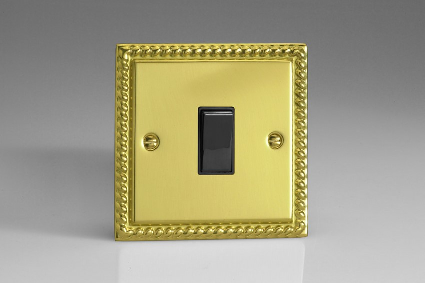 XG7B Varilight 1 Gang (Single), (3 Way) Intermediate 10 Amp Switch, Classic Georgian Polished Brass Effect