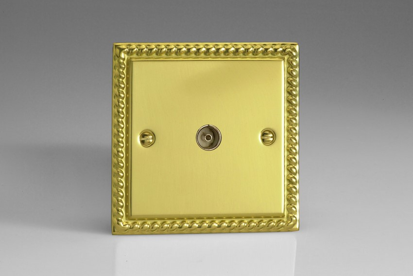 XG8 Varilight 1 Gang (Single), Co-axial TV Socket, Classic Georgian Polished Brass Effect