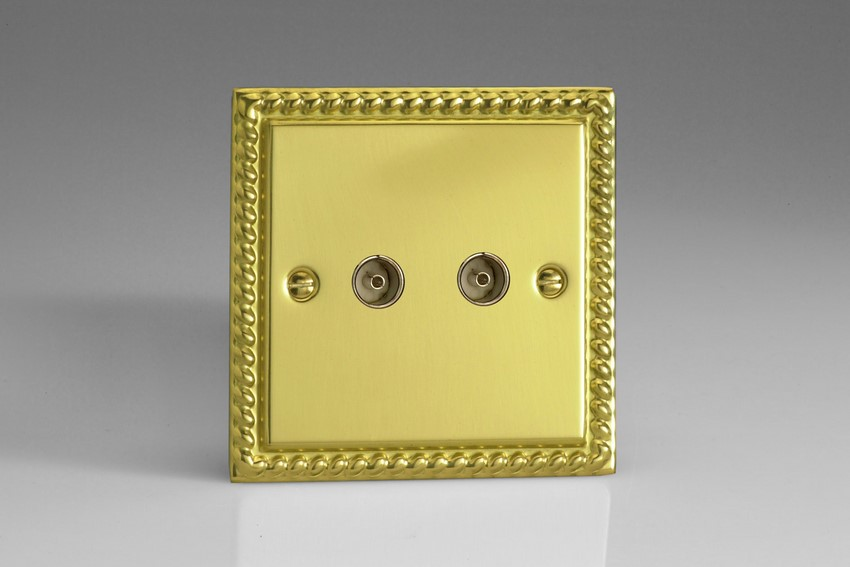 XG88 Varilight 2 Gang (Double), Co-axial TV Socket, Classic Georgian Polished Brass Effect