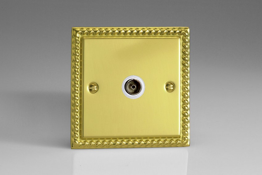 XG8ISOW Varilight 1 Gang (Single), Isolated Co-axial TV Socket, Classic Georgian Polished Brass Effect