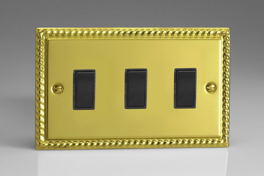 XG93B Varilight 3 Gang (Triple), 1or 2 Way 10 Amp Switch, Classic Georgian Polished Brass Effect (Double Plate)
