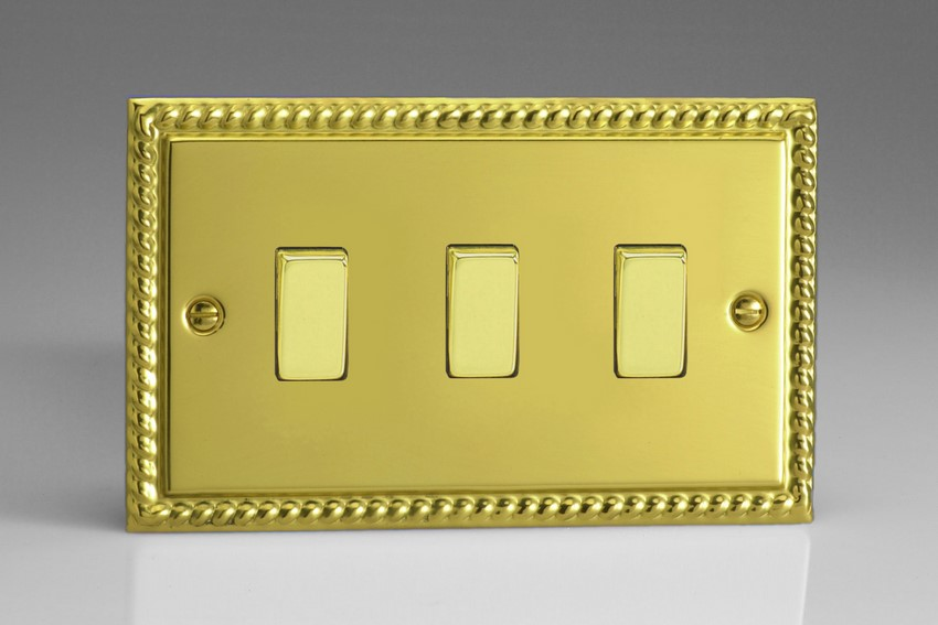 XG93D Varilight 3 Gang (Triple), 1or 2 Way 10 Amp Switch, Classic Georgian Polished Brass Effect (Double Plate)