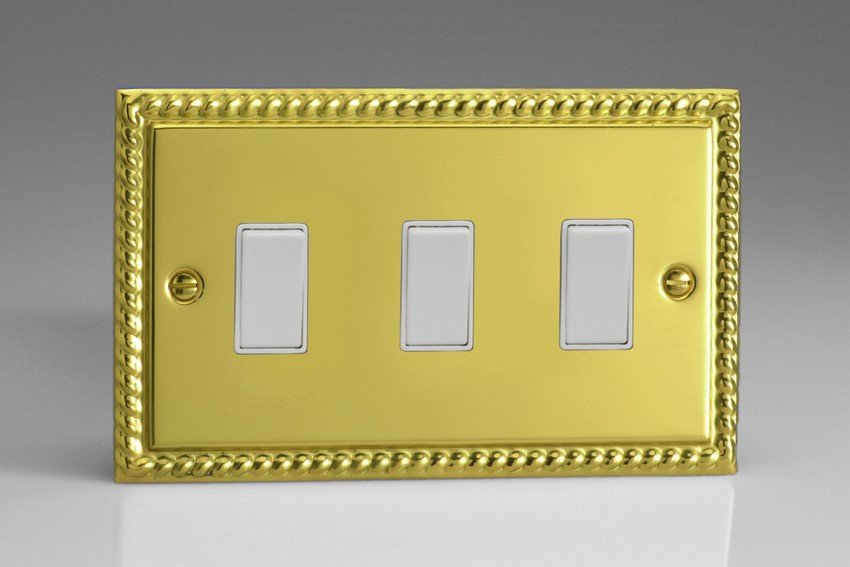 XG93W Varilight 3 Gang (Triple), 1or 2 Way 10 Amp Switch, Classic Georgian Polished Brass Effect (Double Plate)