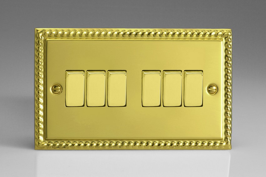 XG96D Varilight 6 Gang 1or 2 Way 10 Amp Switch, Classic Georgian Polished Brass Effect (Double Plate)
