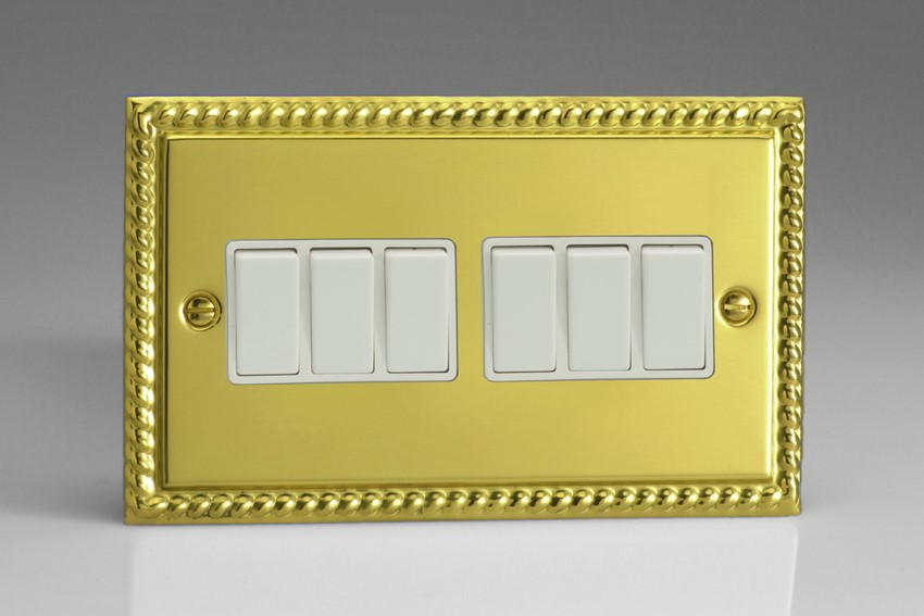 XG96W Varilight 6 Gang 1or 2 Way 10 Amp Switch, Classic Georgian Polished Brass Effect (Double Plate)