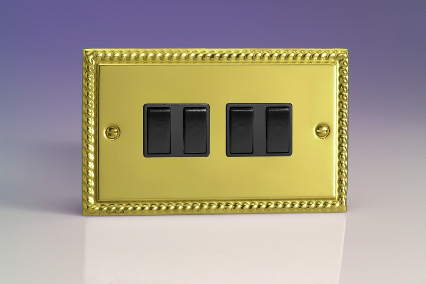 XG9B Varilight 4 Gang (Quad), 1or 2 Way 10 Amp Switch, Classic Georgian Polished Brass Effect (Double Plate)