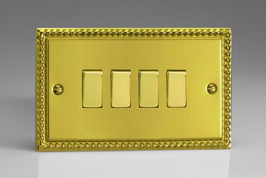 XG9D Varilight 4 Gang (Quad), 1or 2 Way 10 Amp Switch, Classic Georgian Polished Brass Effect (Double Plate)
