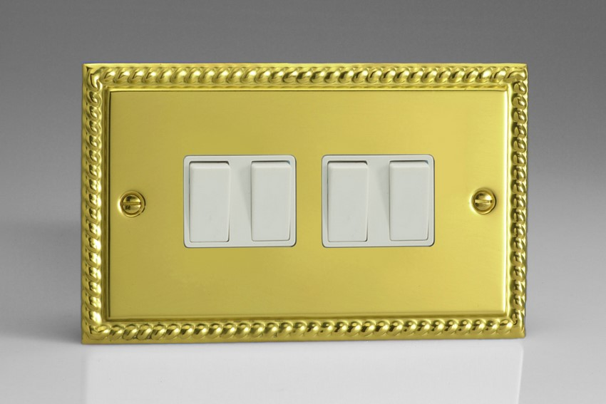 XG9W Varilight 4 Gang (Quad), 1or 2 Way 10 Amp Switch, Classic Georgian Polished Brass Effect (Double Plate)