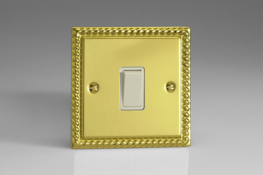 XGBPW Varilight 1 Gang (Single), 1 Way, 10 Amp Retractive Switch (Bell and Blind Switch), Classic Georgian Polished Brass Effect
