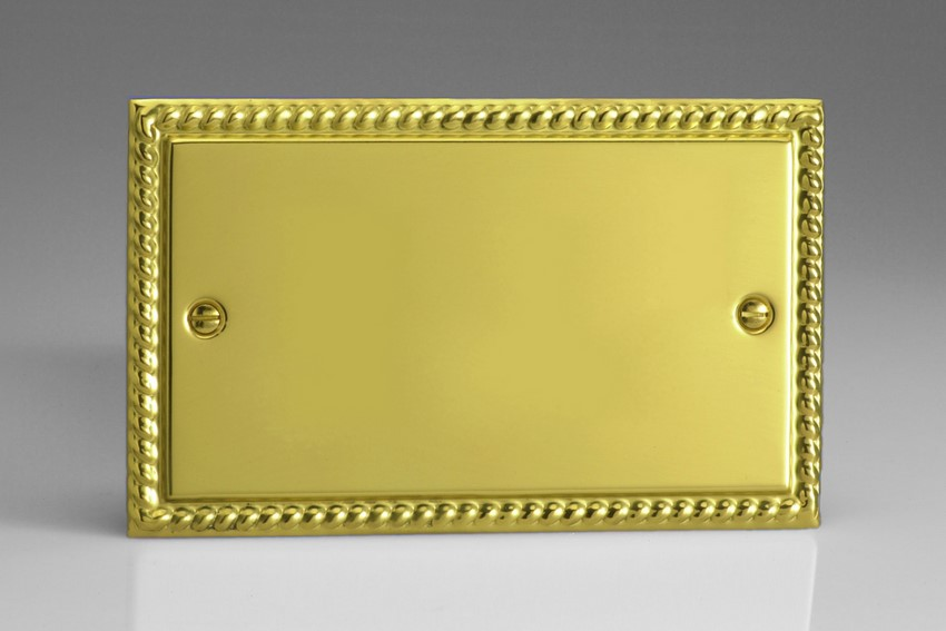 XGDB Varilight 2 Gang (Double), Blank Plate, Classic Georgian Polished Brass Effect (Double Plate)