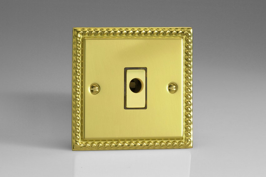 XGFOD Varilight Flex Outlet Plate with Cable Clamp, Polished Brass Effect insert, Classic Georgian Polished Brass Effect