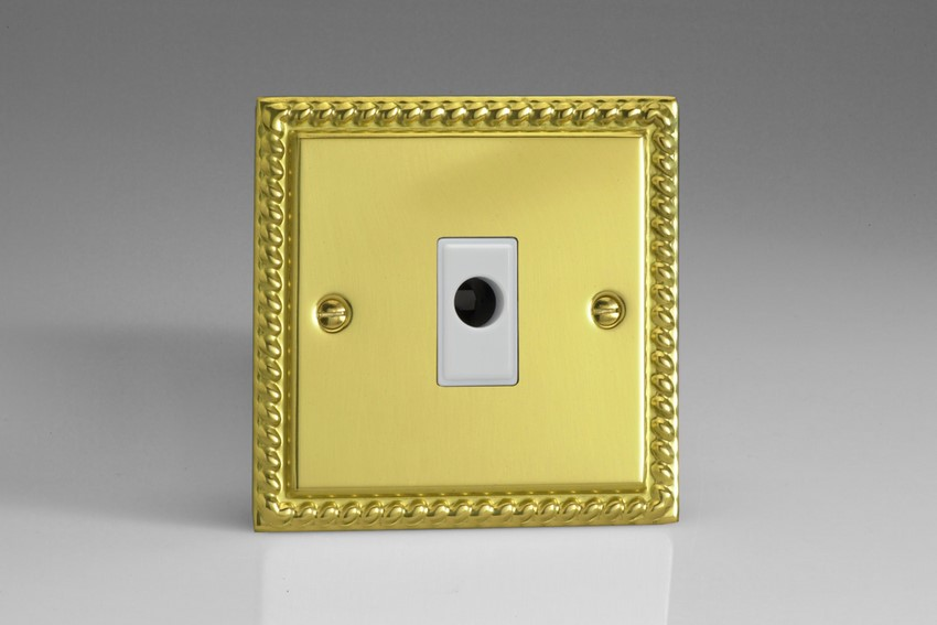 XGFOW Varilight Flex Outlet Plate with Cable Clamp. White insert, Classic Georgian Polished Brass Effect