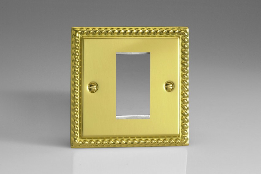 XGG1 Varilight Single Size Data Grid Face Plate For 1 Data Module Width, Classic Georgian Polished Brass Effect