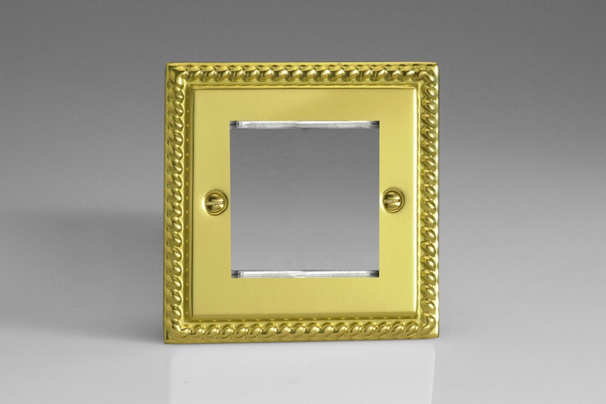 XGG2 Varilight Single Size Data Grid Face Plate For 2 Data Modules, Classic Georgian Polished Brass Effect