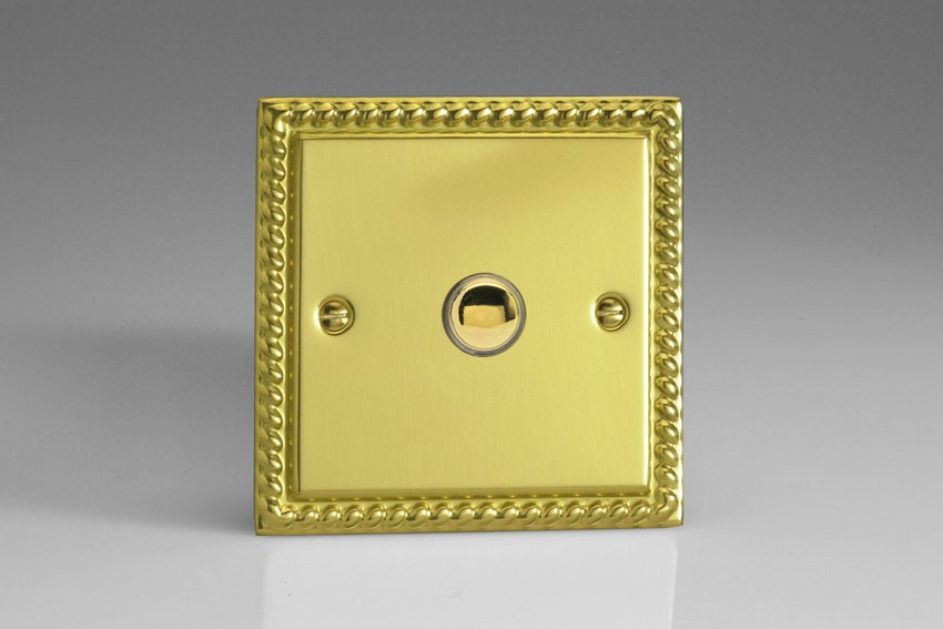 XGP1 Varilight 1 Gang (Single) 1 or 2 way 6 Amp Push-on Push-off Switch (impulse), Classic Georgian Polished Brass Effect