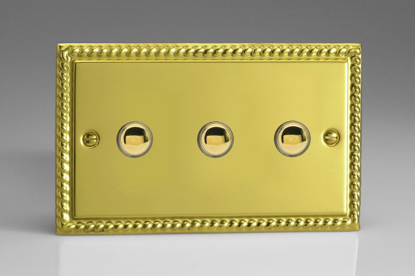 XGP3 Varilight 3 Gang (Triple) 1 or 2 way 6 Amp Push-on Push-off Switch (impulse), Classic Georgian Polished Brass Effect