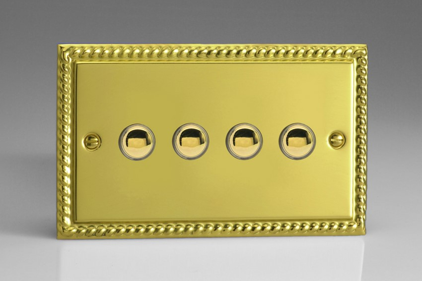 XGP4 Varilight 4 Gang (Quad) 1 or 2 way 6 Amp Push-on Push-off Switch (impulse), Classic Georgian Polished Brass Effect