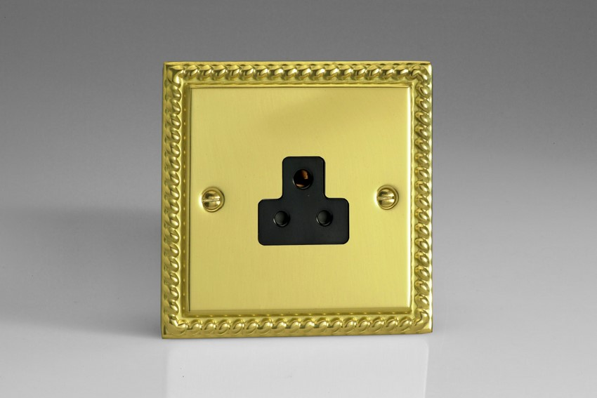 XGRP2AB Varilight 1 Gang (Single), 2 Amp Round Pin Socket, Classic Georgian Polished Brass Effect