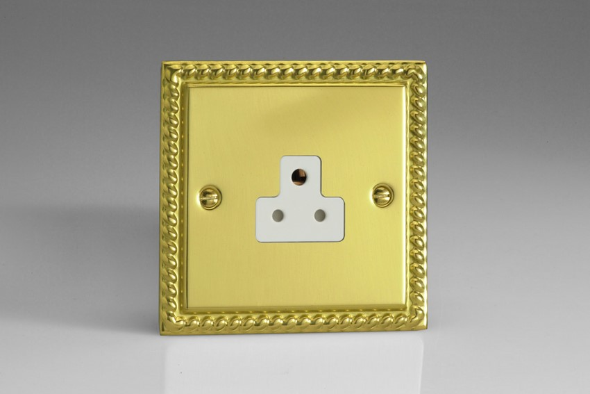 XGRP2AW Varilight 1 Gang (Single), 2 Amp Round Pin Socket, Classic Georgian Polished Brass Effect