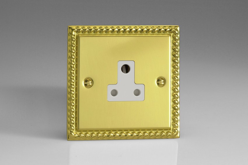 XGRP5AW Varilight 1 Gang (Single), 5 Amp Round Pin Socket, Classic Georgian Polished Brass Effect