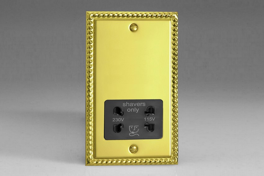 XGSSB Varilight Dual Voltage Shaver Socket, Classic Georgian Polished Brass Effect