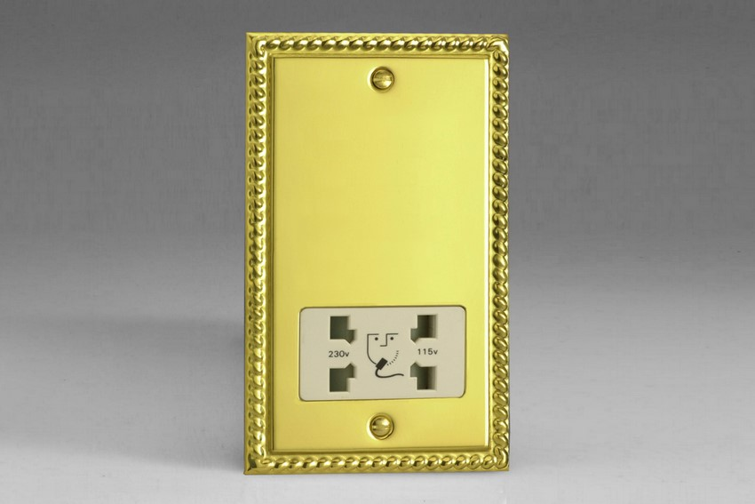 XGSSW Varilight Dual Voltage Shaver Socket, Classic Georgian Polished Brass Effect