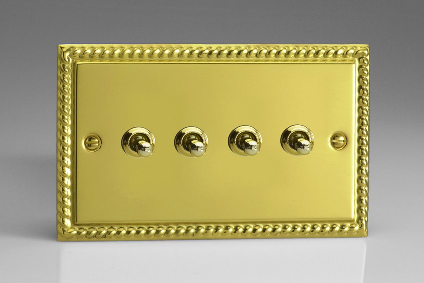 XGT9 Varilight 4 Gang (Quad), 1or 2 Way 10 Amp Classic Toggle Switch, Classic Georgian Polished Brass Effect (Double Plate)