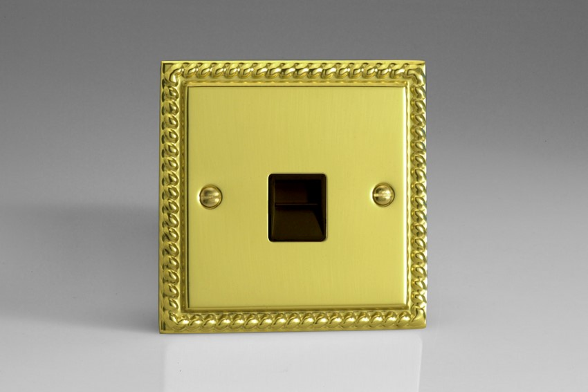 XGTSB Varilight 1 Gang (Single), Telephone Slave Socket, Classic Georgian Polished Brass Effect