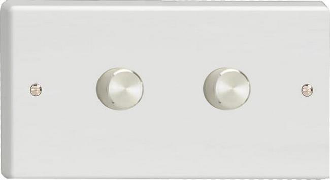 Varilight JQDP602A, 2-Gang 2-Way Push-On/Off Rotary LED Dimmer 2 x 10-300W (Max 30 LEDs) (Twin Plate)