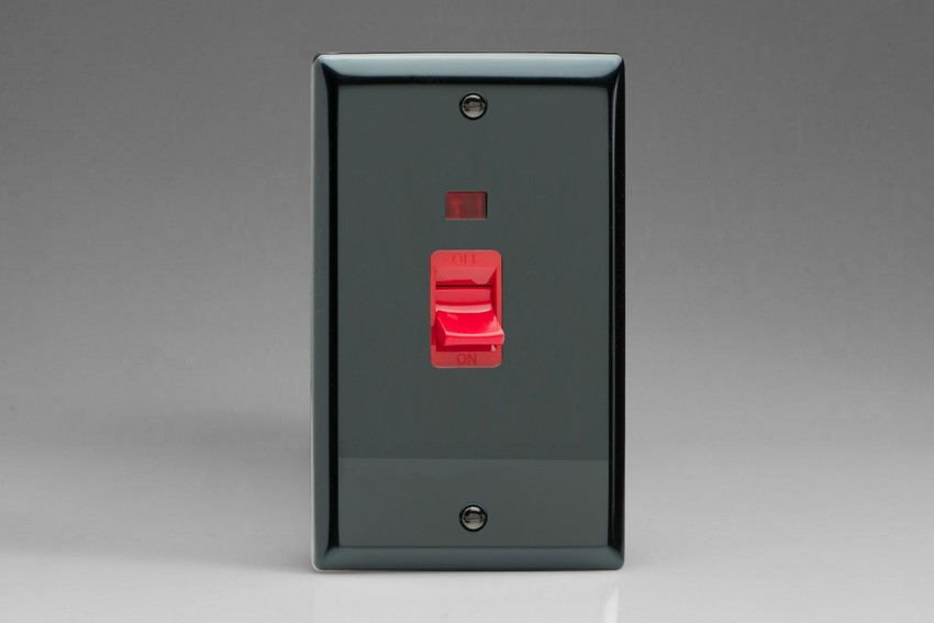 XI45N Varilight 45 Amp Cooker Switch with Neon (Vertical Double Size), Classic Iridium Black