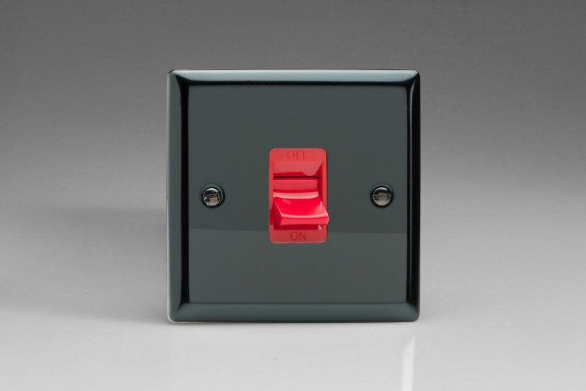 XI45S Varilight 45 Amp Cooker Switch (Single Size), Classic Iridium Black