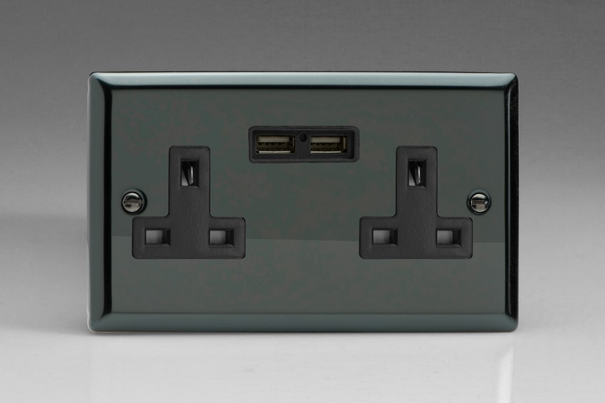 XI5U2B Varilight 2 Gang, 13 Amp Unswitched Socket with 2 Optimised USB Charging Ports, Black Insert. Classic iridium Black
