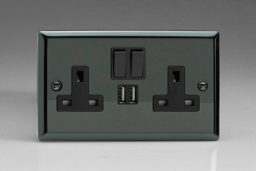XI5U2SB Varilight 2 Gang 13A Single Pole Switched Socket + 2 x 5V DC 2100mA USB Charging Ports, Black Insert & Switches. Classic Iridium Black