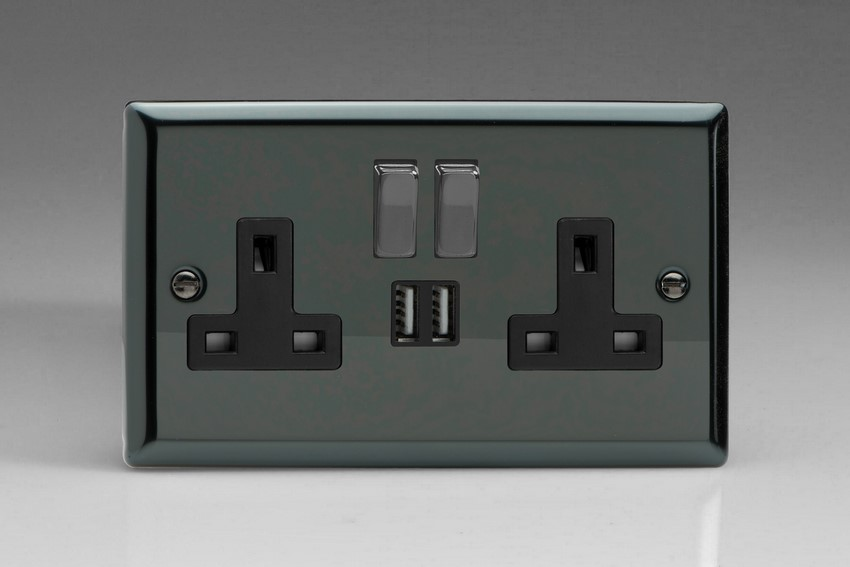 XI5U2SDB Varilight 2 Gang 13A Single Pole Switched Socket + 2 x 5V DC 2100mA USB Charging Ports, Black Insert & Iridium Black Switches. Classic Iridium Black