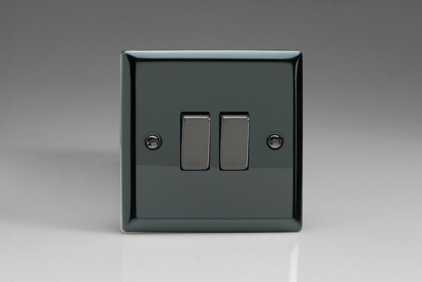 XI71D Varilight 2 Gang (Double): 1 Gang (3 Way) Intermediate and 1 Gang (1 or 2 Way) 10 Amp Switch, Classic iridium Black