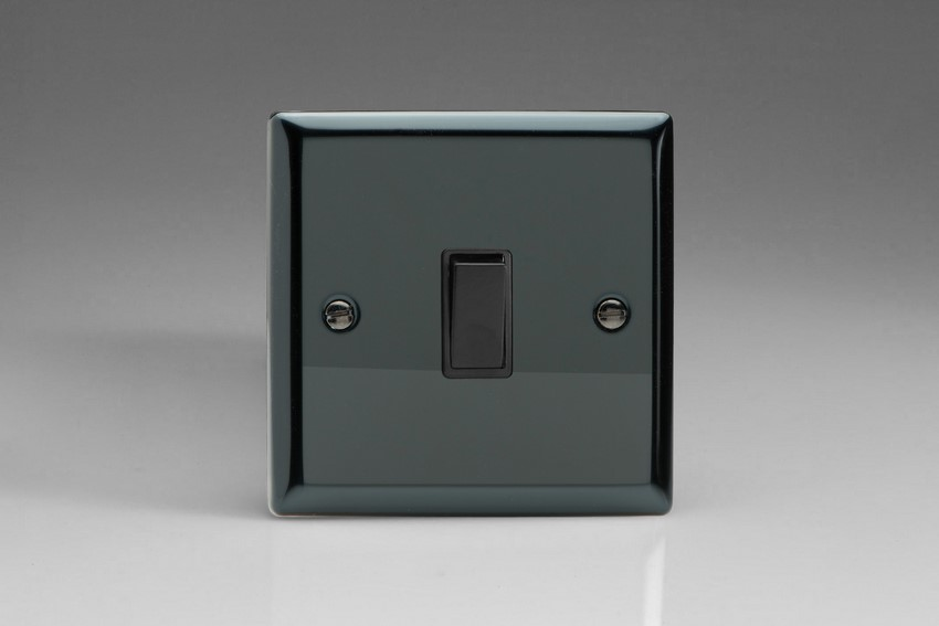 XIBPB Varilight 1 Gang (Single), 1 Way, 10 Amp Retractive Switch (Bell and Blind Switch), Classic iridium Black