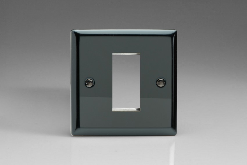 XIG1 Varilight Single Size Data Grid Face Plate For 1 Data Module Width, Classic iridium Black Finish