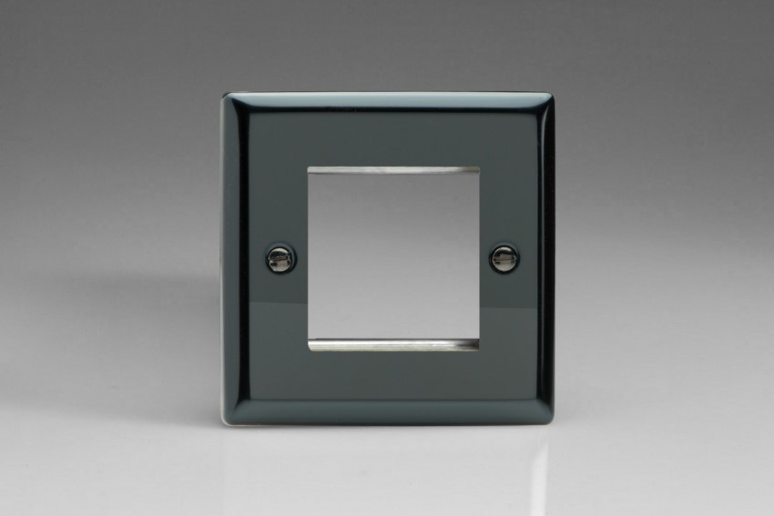 XIG2 Varilight Single Size Data Grid Face Plate For 2 Data Module Classic iridium Black Finish