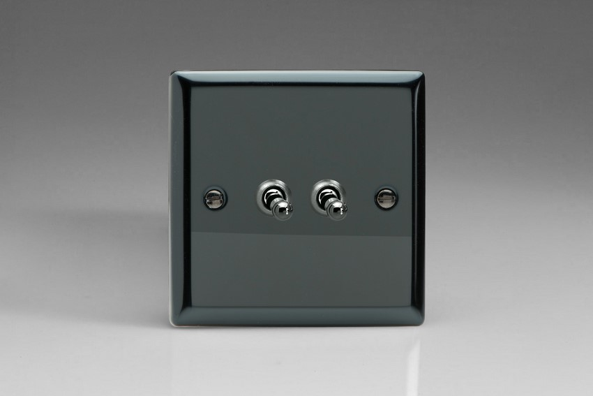 XIT2 Varilight 2 Gang (Double), 1 or 2 Way 10 Amp Classic Toggle Switch, Classic iridium Black