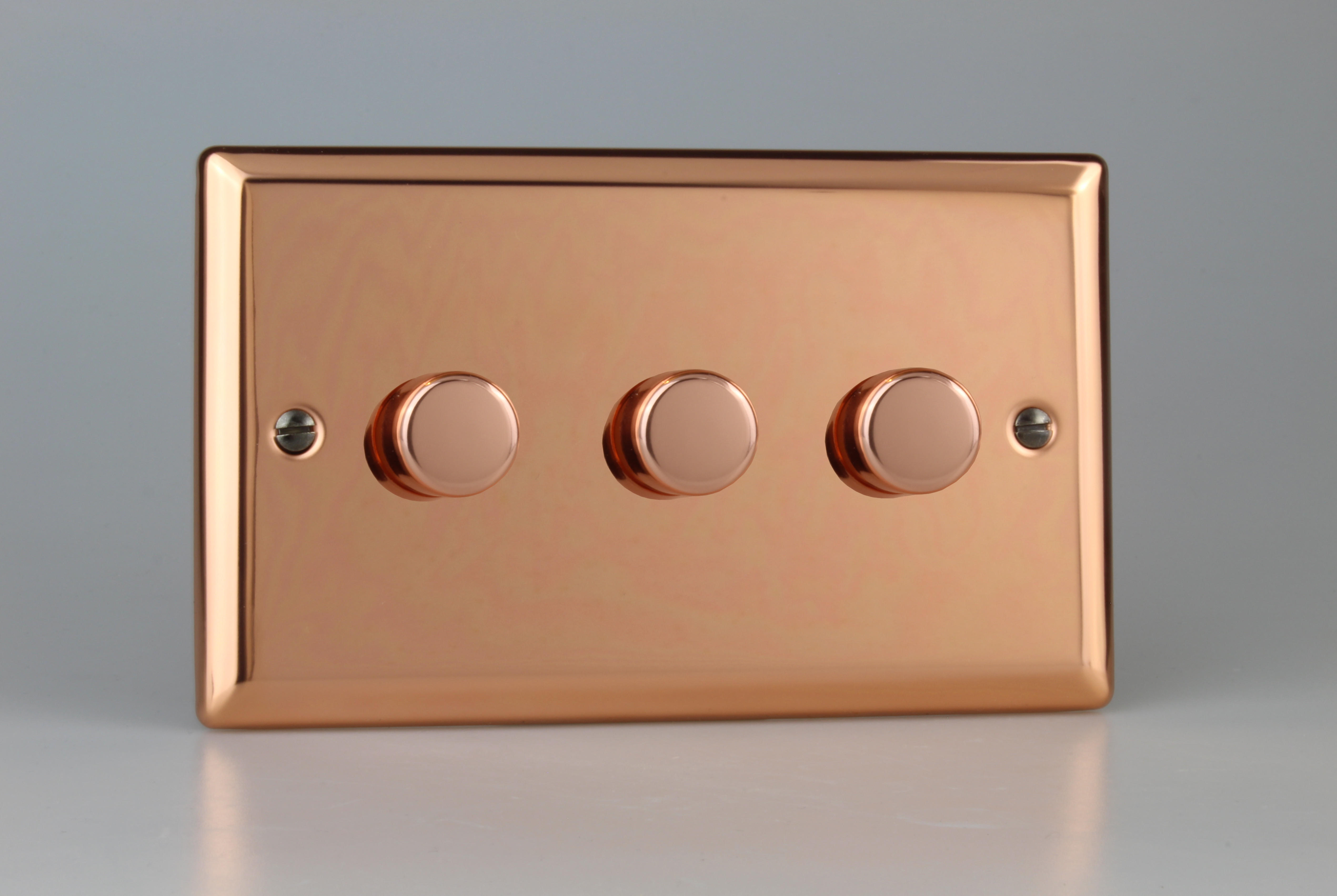 JYDP303.CU Varilight V-Pro Series 3-Gang 2-Way Push-On/Off Rotary LED Dimmer 3 x 0-120W (1-10 LEDs) (Twin Plate), Classic Polished Copper