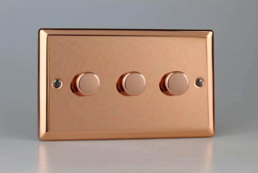 IYDP303.CU Varilight V-Plus 3 Gang, 1 or 2 Way 3x300 Watt/VA Dimmer, Classic Polished Copper