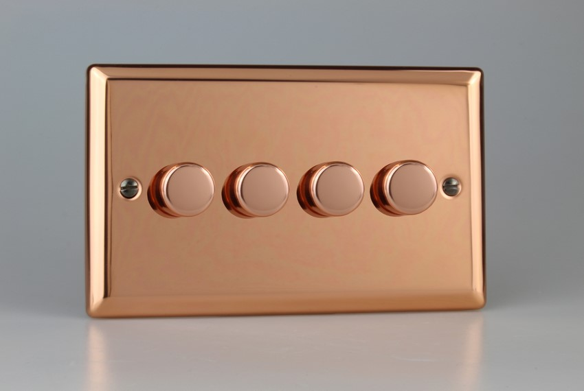 IYDP304.CU Varilight V-Plus 4 Gang, 1 or 2 Way 4x300 Watt/VA, Dimmer, Classic Polished Copper