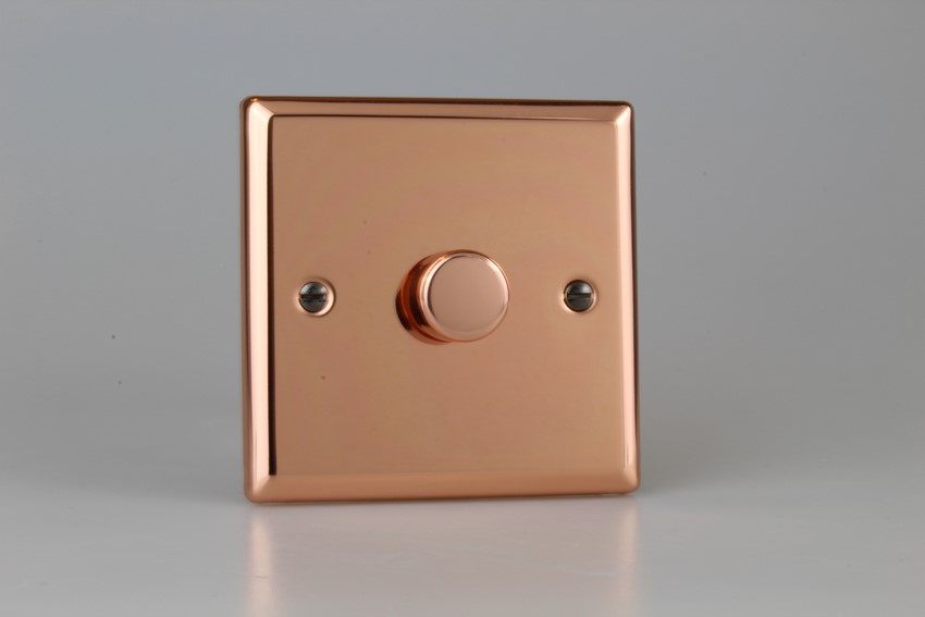 IYP1001.CU Varilight V-Plus Series 1 Gang 1 or 2 Way 1000 Watt/VA Dimmer, Classic Polished Copper