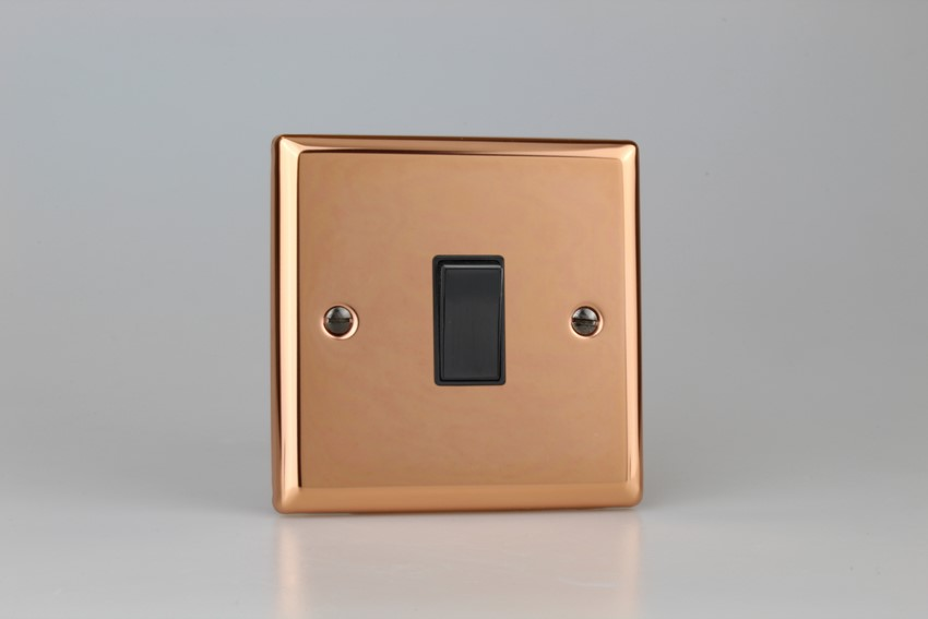 XY20B.CU Varilight 1 Gang (Single), 1 Way 20 Amp Double Pole Switch, Classic Polished Copper