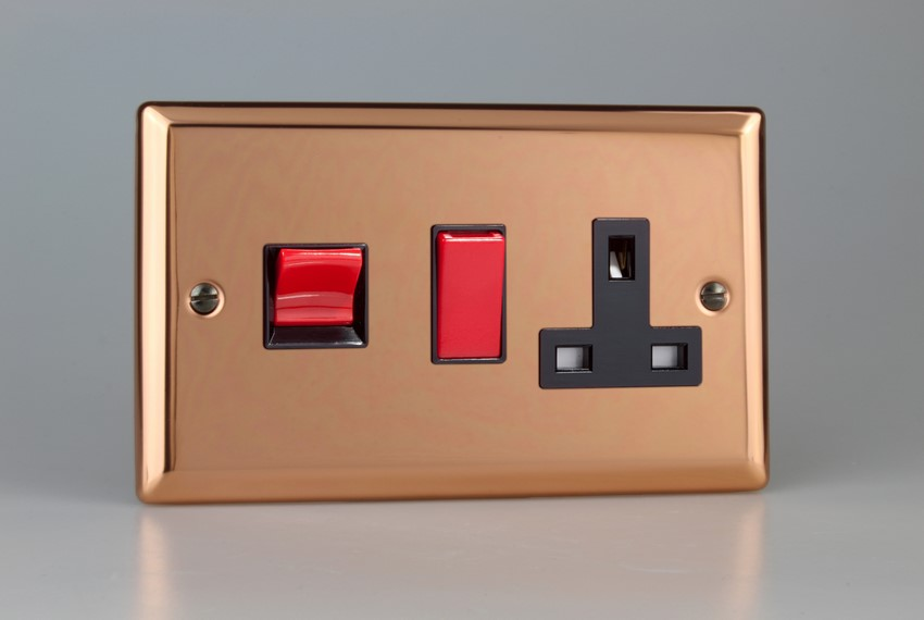 XY45PB.CU Varilight 45 Amp Cooker Panel with 13 Amp Switched Socket (Horizontal Double Size), Classic Polished Copper
