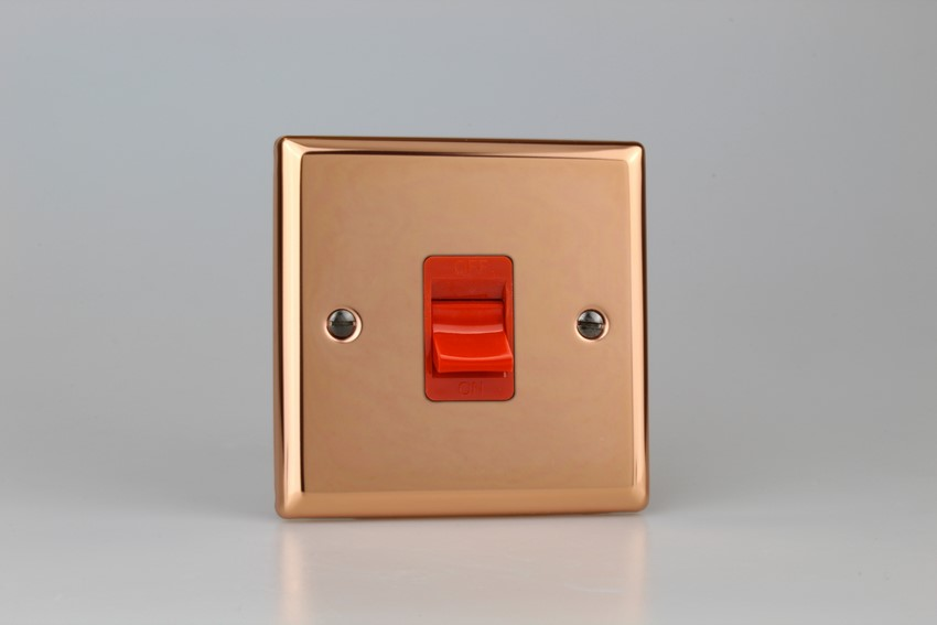 XY45S.CU Varilight 45 Amp Cooker Switch (Single Size), Classic Polished Copper